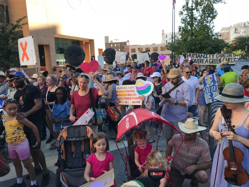 A rally in El Paso against Trump's family separation policy.
