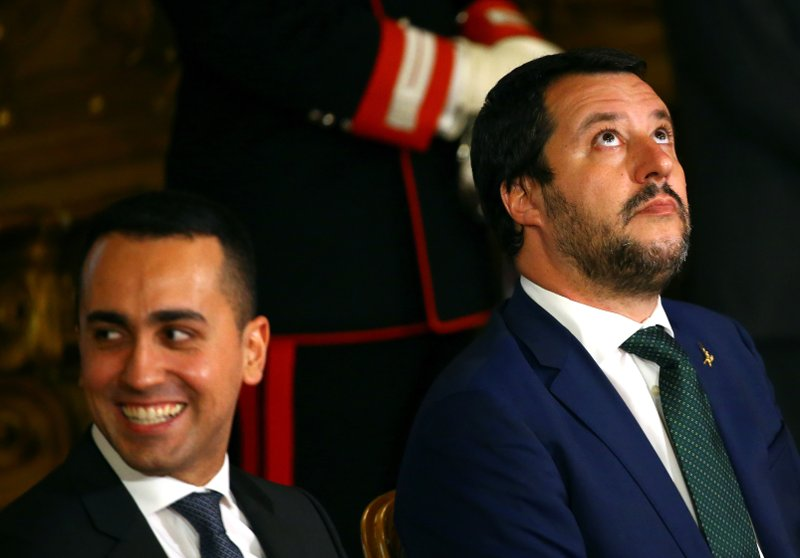New Interior Minister and League leader Matteo Salvini with the leader of the M5S, Italy's Minister of Labor and Industry Luigi Di Maio, at the Quirinal palace in Rome, Italy, June 1, 2018. Photo: REUTERS/Tony Gentile