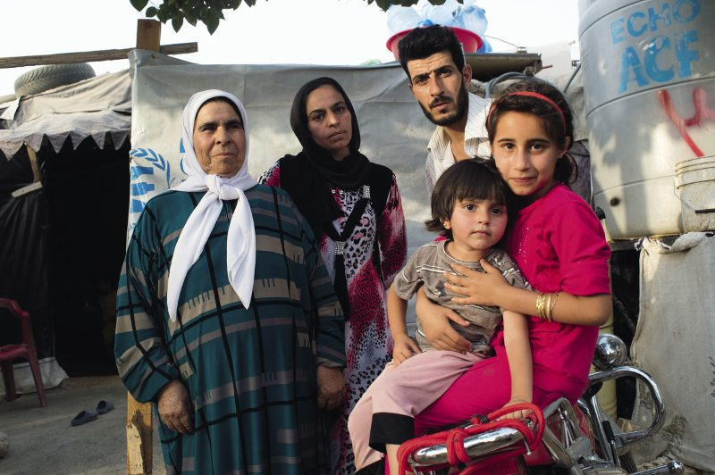 A family of Syrian refugees in a UN camp near Zahle, in the Bekaa valley