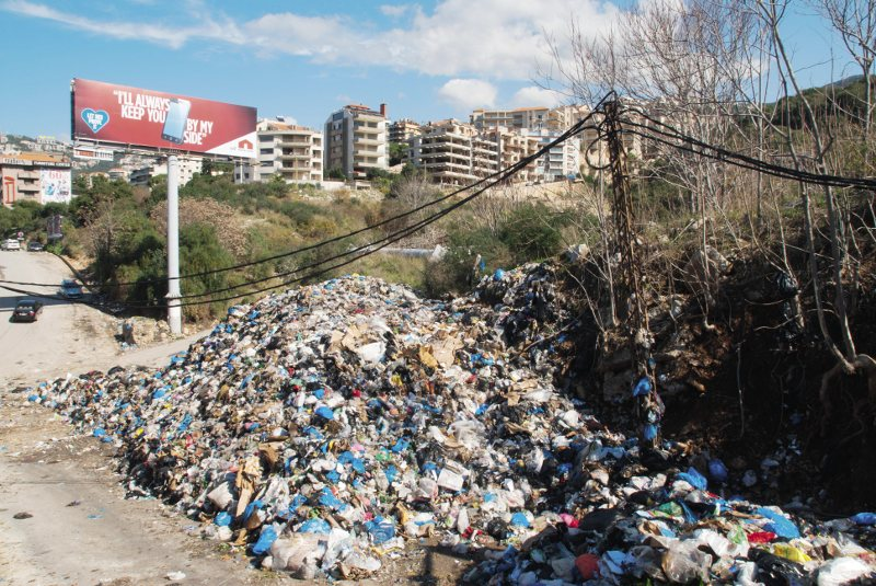 Rubbish dumped on the road in north Beirut: the country's garbage collection system has collapsed.