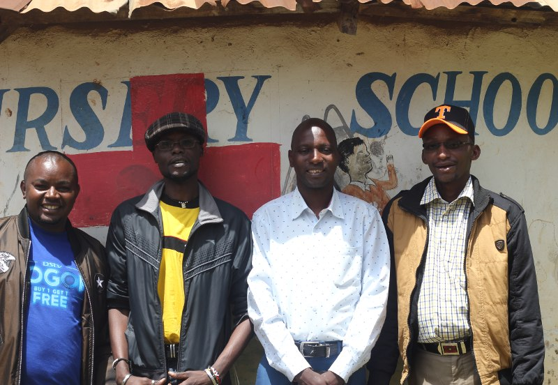 Humphrey Muriuki Ngaine and his fellow 'male champions' of GROOTS Kenya.
