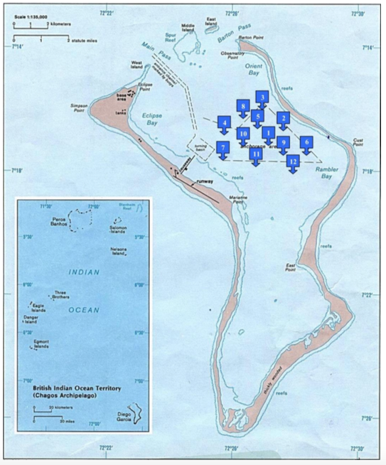 Map showing the location of ship anchorages